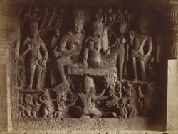 [Sculptured panel of Ravana under Kailasa with Shiva and Parvati above, in Hindu Cave XXIX (Dumar Lena), Ellora.]